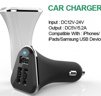 3usb car charger 5V 5.2A car charger CE RoHs FCC